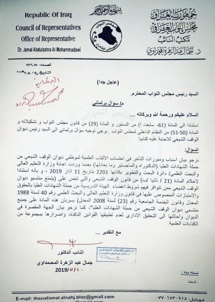 المحمداوي يوجه سؤالاً برلمانياً جديداً لرئيس ديوان الوقف الشيعي بشأن الالقاب العلمية