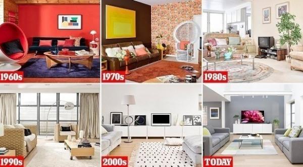 شاهد كيف تغيرت غرفة المعيشة على مدى 6 عقود؟
