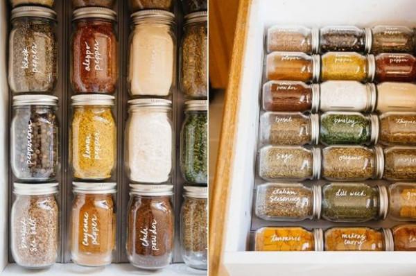 10 أفكار لتنظيم عبوات التوابل في المطبخ