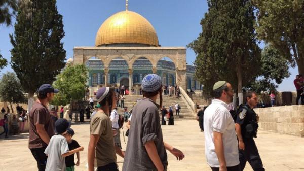 300 مستوطنا يقتحمون باحات الاقصى بحماية من قوات الاحتلال