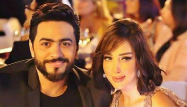 تامر حسني وبسمة بوسيل في وصلة غنائية بعيد ميلاد ابنتيهما