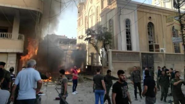 انفجار قرب كنيسة وسط القامشلي شمال شرق سوريا