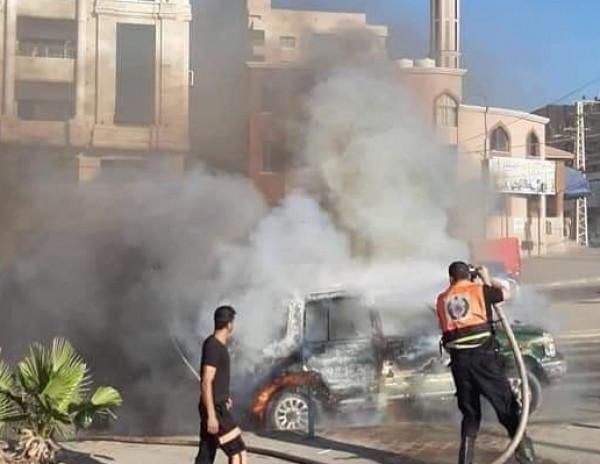 صور: مرور غزة تُصدر بياناً توضيحياً حول حرق مواطن لمركبته