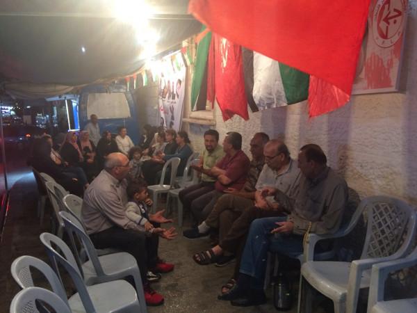 القوى والمؤسسات الوطنية وأهالي الأسرى يواصلون اعتصامهم في خيمة التضامن