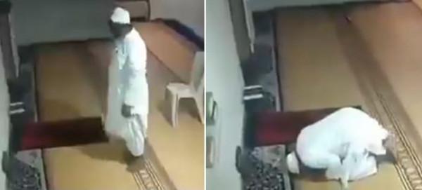شاهد: رجل يصارع سكرات الموت وهو يصلي بمفرده داخل مسجد