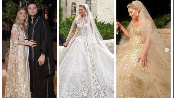 بـ 3 فساتين لافتة.. زوجة نجل المصمم العالمي إيلي صعب تتألق فى حفل زفافها
