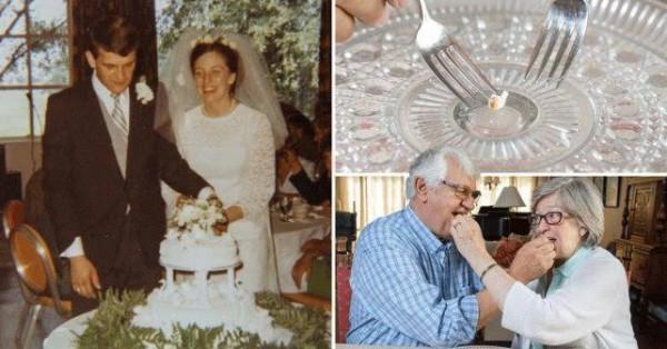 تقليد مبهر.. زوجان يتناولان كعكة زفافهما منذ نصف قرن