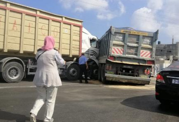 حادث سير بين شاحنتين (جار ومجرور) بخانيونس