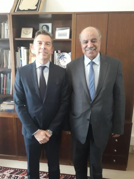 السفير الهرفي يلتقي المستشار الدبلوماسي لرئيس معهد العالم العربي في باريس