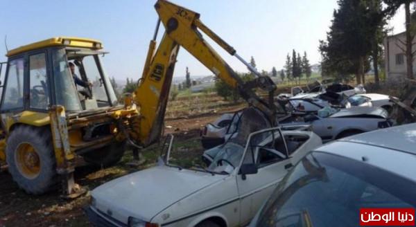 الأجهزة الأمنية تُتلف 210 مركبات غير قانونية في نعلين غرب رام الله