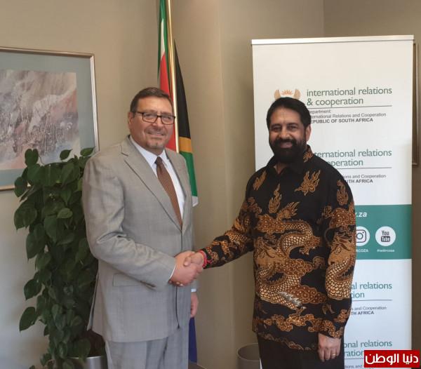 """السفير """"الدجاني""""يجتمع مع نائب مدير عام وزارة العلاقات الدولية والتعاون الجنوب افريقي"""