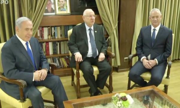 شاهد: قمة ثلاثية لنتنياهو وغانتس والرئيس الإسرائيلي