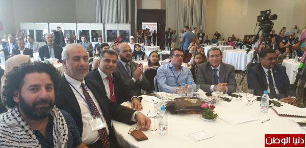 """المؤتمر الشعبي لفلسطينيي الخارج يشارك في مؤتمر """"الواقع المهني والنقابي الفلسطيني بتونس"""