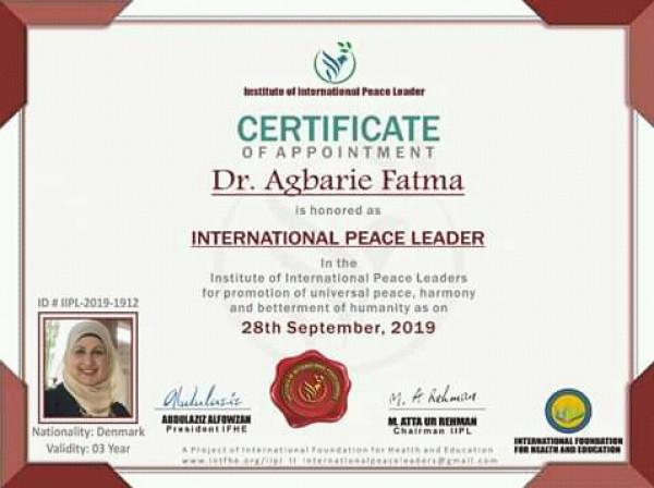 سفيرة فلسطين للثقافة تُكرم من المعد الدولى للسلام التابع للأمم المتحدة
