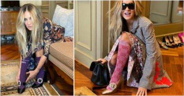 المنتجة الأمريكية سارة جيسيكا باركر بجوارب قطنية طويلة مع حذاء بكعب عال
