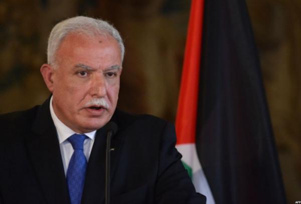 وزير الخارجية الفلسطيني يدين الإعلان الأمريكي حول المستوطنات