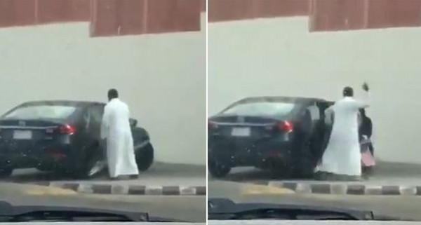 شاهد: أب يعنف ابنته ويضربها بقوة بعد خروجها من المدرسة بالسعودية