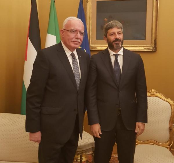 المالكي يبحث مع رئيس البرلمان الإيطالي تطورات الوضع السياسي في فلسطين