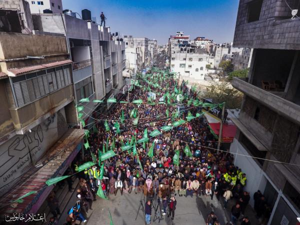 شاهد: حماس بخانيونس تنظم احتفالاً مهيباً في ذكرى انطلاقتها 32