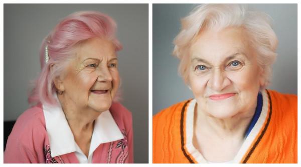 تحول مذهل فى شكل مُسنتين في التسعين بعد تغيير لون شعرهما