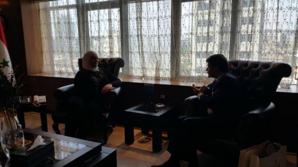 عبد الهادي يبحث مع وزيرة الشؤون الاجتماعية أوضاع المخيمات الفلسطينية بسوريا