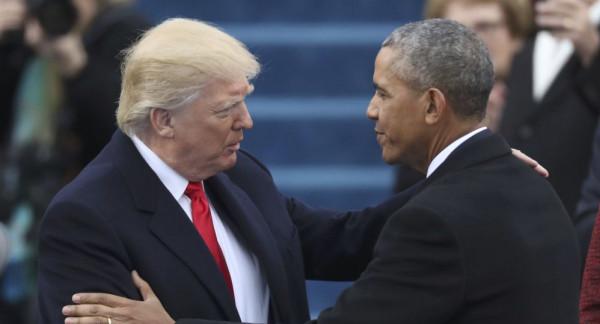 """صورة: أوباما """"يتجسس"""" على ترامب في برجه"""