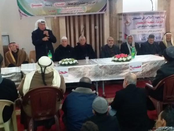 """إصلاح """"الجهاد الإسلامي"""" ترعى صلحاً عشائريا بين عائلتي مصبح وحجاج في غزة"""