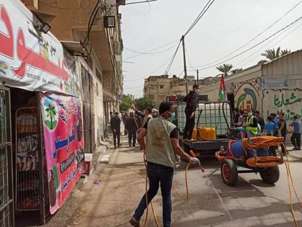 كتائب الشهيد عبد القادر الحسيني تبدأ حملة تعقيم شوارع في دير البلح