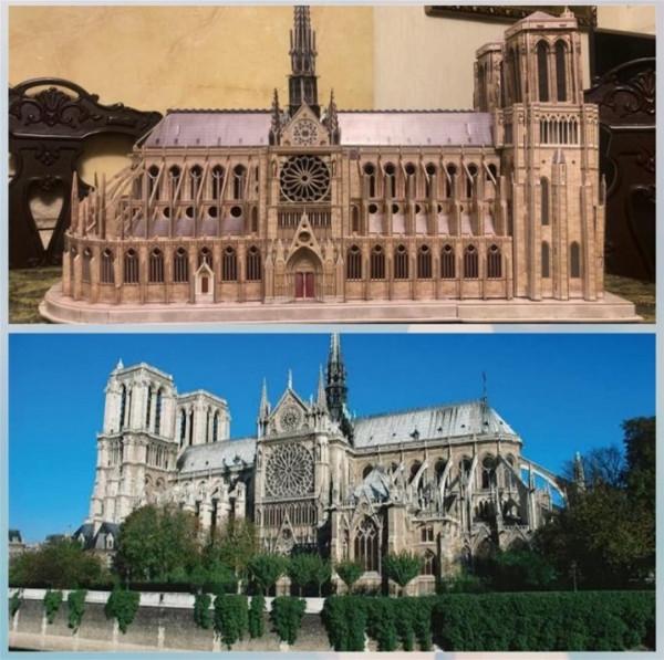 بطريقة مذهلة.. مهندس يستغل الحظر في تنفيذ كاتدرائية باريس بقطع كرتونية