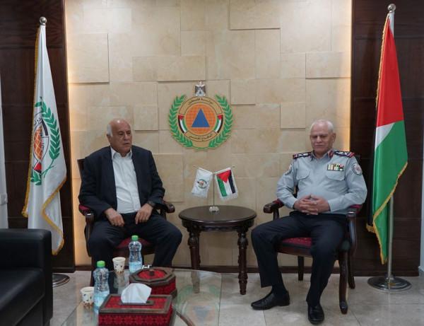 مدير عام الدفاع المدني يستقبل أمين سر اللجنة المركزية لحركة فتح