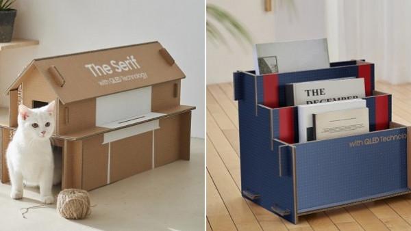 سامسونج  تصنع كرتونة تلفاز يمكنك تحويلها إلى طاولة أو بيت للقطط   دنيا الوطن