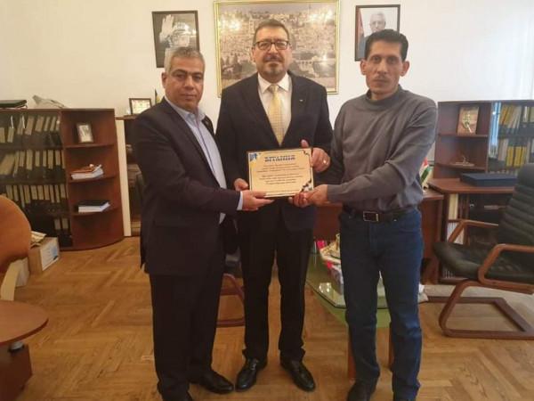 مفوّض التجمع الفلسطيني للوطن والشتات يهنئ السفير هاشم دجاني بتسلم منصبه