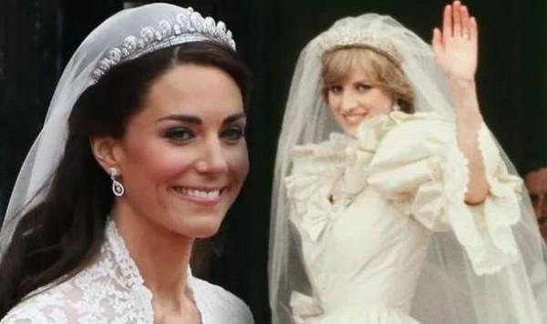"""السبب الحقيقي لعدم ارتداء """"كيت"""" تاج حماتها """"ديانا"""" في يوم زفافها"""