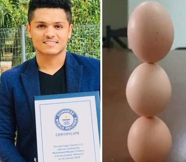 يمني يدخل موسوعة غينيس العالمية بعدما فعل شيئا مذهلا باستخدام البيض