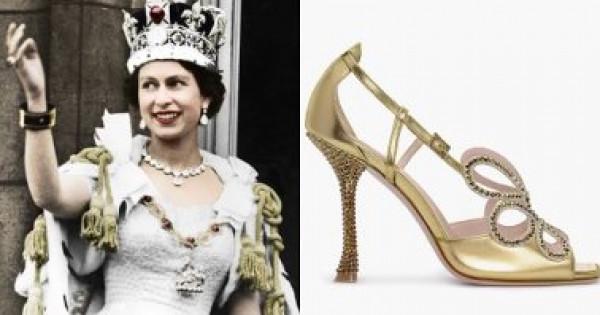 صندل مرصع بالكريستال لـ صيف 2020 مستوحى من حذاء التتويج للملكة إليزابيث