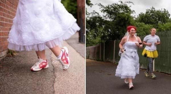 عروس تحتفل بزفافها بالركض لسبب غريب