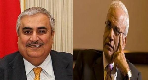 """تفاصيل اتصال هاتفي بين عريقات والمستشار الدبلوماسي لعاهل مملكة البحرين بشأن """"الضم"""""""