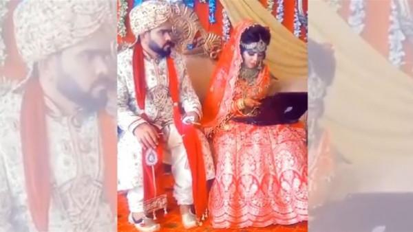 عروس تمارس عملها في حفل زفافها 9999060534