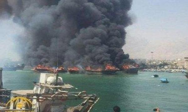 نيران كثيفة تشتعل في ميناء بوشهر جنوب إيران