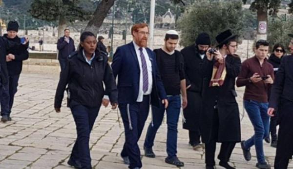 يهودا غليك يقود المستوطنين باقتحام الاقصى ودعوات لتهويد مصلى باب الرحمة