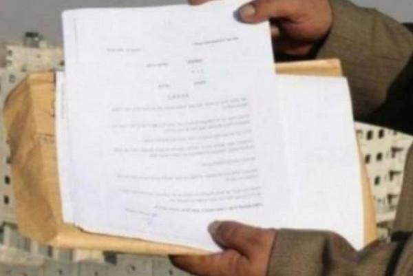 الاحتلال يسلم تسعة إخطارات بوقف العمل والبناء والهدم في كفر الديك