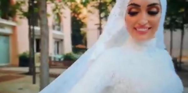 شاهد: انفجار بيروت يُفاجئ عروس لبنانية أثناء جلسة تصوير عرسها