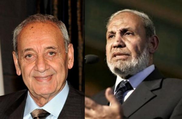 الزهار يُهاتف رئيس البرلمان اللبناني ويعبر عن تضامن فلسطين مع لبنان