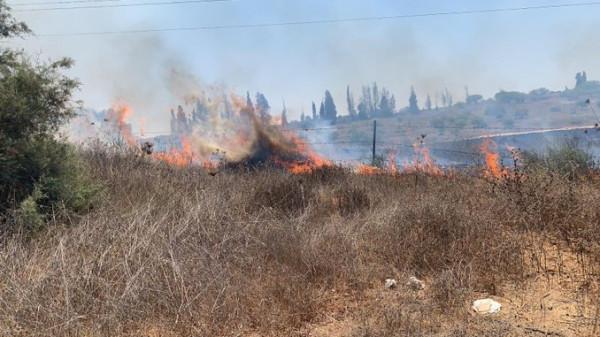 """شاهد: اندلاع حرائق في """"غلاف غزة"""" بفعل بالونات حارقة"""