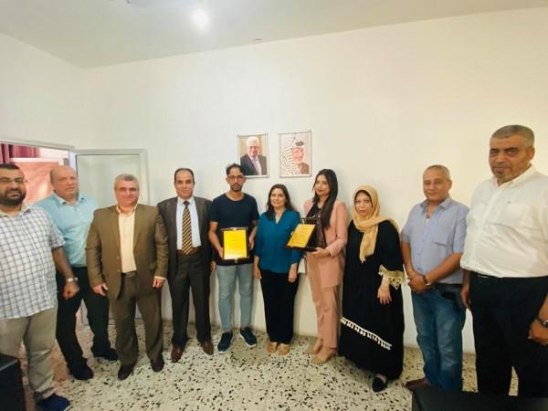 صور: مؤسسة بسمة أمل تكرم الصحفي ابورزق والأنسة يارا