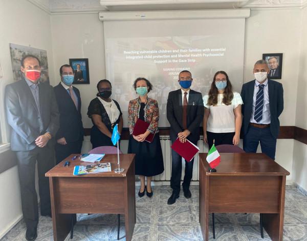 إيطاليا و(يونيسف) توقعان شراكة لتوفير حماية أساسية متكاملة للأطفال وأسرهم ودعم الصحة النفسية بغزة