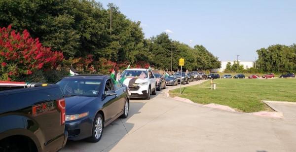 مسيرة سيارات ضد التطبيع وللمطالبة بحرية الشعب الفلسطيني في تكساس الأمريكية