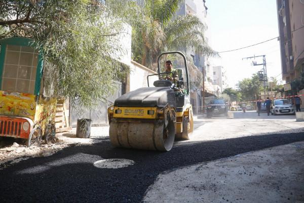 اعمال تعبيد ضمن مشروع تأهيل شبكة الصرف الصحي في قلقيلية