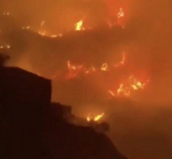 شاهد: حريق ضخم في جبل غلامة بمحافظة تنومة بالسعودية
