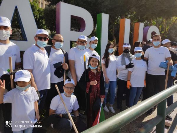 """بنك الإسكان يشارك في مبادرة """" نظف أمام بيتك  الوطنيه"""" في نابلس"""